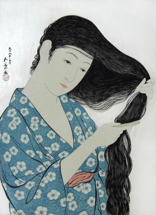Woman-Combing-her-Hair